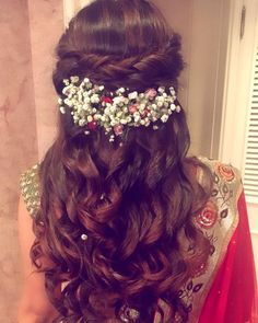 Indian bridal hairstyles inspiration | Dutch braid adorned with baby breath flowers | Fresh flower hairstyles | Half updos with soft curls | Hairstyle ideas for Indian brides | Hair accessories | Mehendi look ideas | Credits: Ritika Hairstylist | Every Indian bride's Fav. Wedding E-magazine to read. Here for any marriage advice you need | www.wittyvows.com shares things no one tells brides, covers real weddings, ideas, inspirations, design trends and the right vendors, candid photographers…