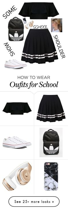 """""""Show Some Shoulder - SCHOOL"""" by charley-s2 on Polyvore featuring Converse, adidas, Beats by Dr. Dre and showsomeshoulder"""
