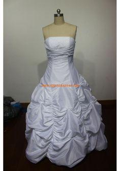 Robe de mariée princesse taffetas perles