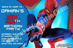 Amazing Spiderman Design 01 Invitation - Spider-man Birthday Invitations -DIY Digital File - www.ubaldodesigns.com