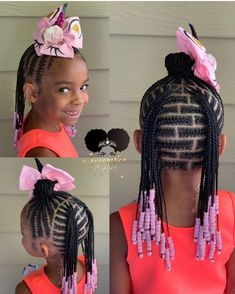 Box Braids Hairstyles, Lil Girl Hairstyles, Black Kids Hairstyles, Kids Braided Hairstyles, Hairstyles 2018, Hairstyle Ideas, Little Girls Natural Hairstyles, Hairstyle Look, Protective Styles