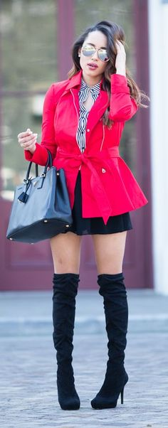 Peplum Trench Outfit Idea by A Keene Sense Of Style