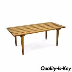 John Keal Brown Saltman Mid Century Modern Coffee Table Slat Bench Expanding for sale online