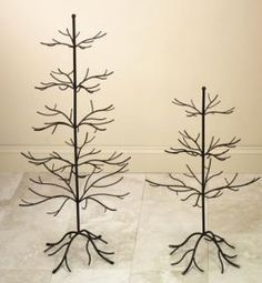 Went to a party that had a tree like this with cute envelopes hanging full of farewell letters to a coworker. Would be great for a baby shower, wedding shower, or any holiday though. Wrought Iron Christmas Tree, Wall Christmas Tree, Xmas, Metal Ornament Tree, Metal Tree, Tree Decorations, Christmas Decorations, Cute Envelopes, Traditional Christmas Tree