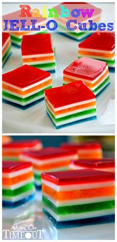 Rainbow Jello Cubes are so easy to make and are perfect for St. Patrick's Day or any day you want to bring a smile to someone's face! The perfect treat! Great for parties too! // Mom On Timeout Yummy Treats, Delicious Desserts, Sweet Treats, Yummy Food, Jello Desserts, Jello Recipes, Rainbow Desserts, Fruit Jello, Gelatina Jello