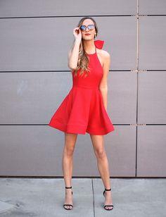 Audrey Bow Flared Dress + #Quay Hearts Sunglasses + #Jeffrey Campbell Burke Cutout Heels http://www.swankboutiqueonline.com/audrey-bow-flared-dress/