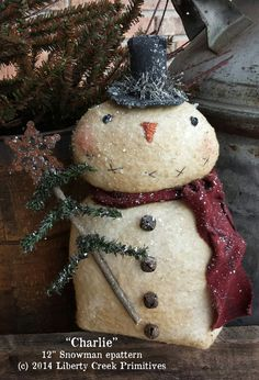 Here is a simple and fun epattern to create Charlie. He is a 12 weighted snowman with an adorable hand-stitched face. Instructions include how to