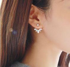 Flower Ear Jacket, Diamond Ear Cuff, Ear Climbers Leaf Ear Crawlers Earrings  - Gold & Silver - Rosa Vila Jewelry  - 1