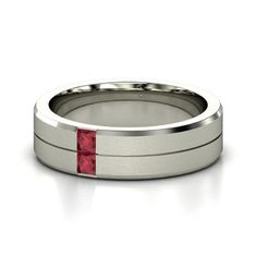 Men's Platinum Ring with Ruby.
