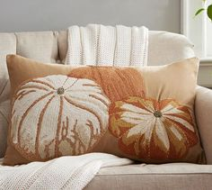 Pumpkin Embroidered Lumbar Pillow Cover | Pottery Barn