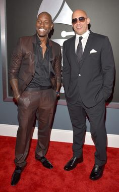 Tyrese & Vin Diesel... The studs hit the red carpet - At the 2013 Grammy Awards. (Tyrese in Dolce & Gabbana)