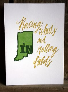 Indiana Letterpress Print Limited Edition by 1canoe2 on Etsy