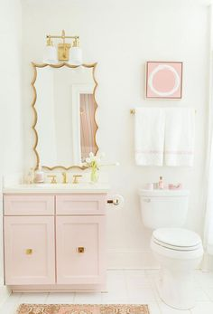 Pink bathroom design by Tori Alexander. Photo by Leslee Mitchell. Pink bathroom design by Tori Alexander. Photo by Leslee Mitchell. Bathroom Interior, Small Bathroom, Girl Bathrooms, Girls Bathroom Design, Dream Bathrooms, Bathroom Design, Green Bathroom, Pink Cabinets, Pink Bathroom