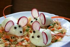 Appropriately decorated cabbage salad with boiled eggs