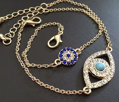 Dainty & Sparkly CZ Rhinestone Evil Eye 18k Gold Plated Chain Bracelets with Extension Chain + Lobster Clasp