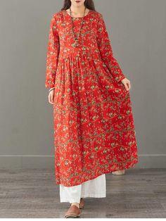 Fashion Loose Cotton Linen Floral Maxi Dresses Women Casual Clothes 13 | FantasyLinen