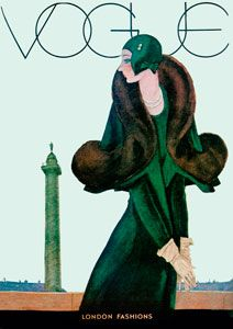 Vintage Vogue Cover, Art Deco, Green Coat, Archival@
