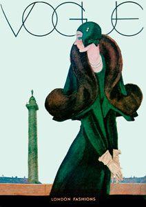 Vintage Vogue Cover, Art Deco, Green Coat, Archival@
