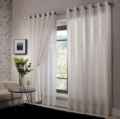 cortina de ilhos sao salvatore Elegant Curtains, Cool Curtains, Curtains With Blinds, Lounge Curtains, Living Room Decor, Bedroom Decor, Curtain Designs, Small Room Bedroom, Home And Living