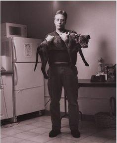 Jon Stewart and his pup Monkey