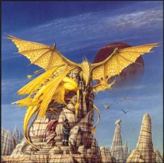 The original artwork for the paperback edition of Dragonflight was also printed in the commemorative and limited hardcover edition of the same book that was publshed when it was 30 years ago that the first Pern story saw the light. The picture clearly shows F'lar, Lessa, Mnement and Ramoth, all cozy and close. © Copyright by Steve Weston, all rights reserved.