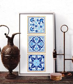 Ottoman Floral Motif Watercolor Art, Traditional Turkish Blue Tulip Home Decor, Vintage Blue Carnation Wall Art Prints and Original Painting