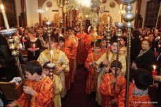 Greek Easter, church service.