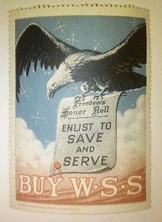 JM# Old War poster stamp- BUY W.W.S Enlist to Save & Serve Vintage 1.7 x 2.3