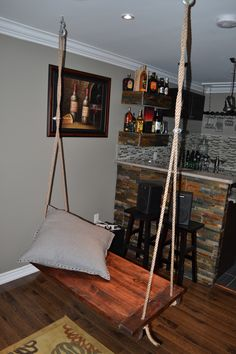 Superior Rustic Wood Swing For Basement That Hangs From Ceiling Good Looking
