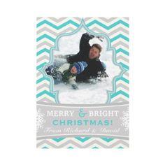 Modern chevron pattern Christmas flat photo card by zazzleproducts1