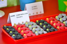 Game Controller Shaped Erasers from a Nintendo Inspired Video Game Birthday Party via Kara's Party Ideas KarasPartyIdeas.com (18)