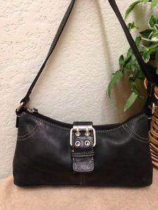 Fossil Vintage Black Leather Handbag Shoulder Bag Satchel Small Adjustable  Strap  506e8c9ddfcd9