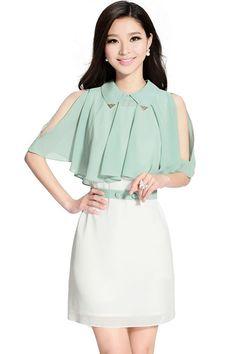 Caped Color Block Dress