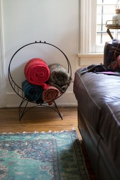 Clever blanket storage in an old log carrier.
