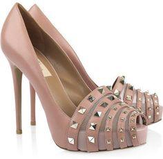 ShopStyle: Valentino Studded leather peep-toe pumps