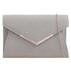 Grey faux leather clutch bag / shoulder bag with Silver tone metal edge trim to the front The bag fastens with a flap over the top and a concealed Leather Clutch Bags, Formal Clutches, Balenciaga Handbags, Denim Handbags, Fashion Handbags, Summer Purses, Summer Handbags, Accessories, Bags