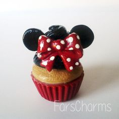Minnie Mouse Cupcake Charm  Polymer Clay  Disney by FarCreations, $8.00