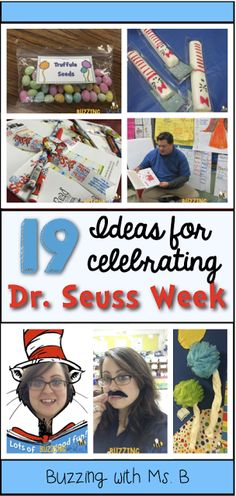 We made tasty Seuss snacks, bulletin boards, fun dress-up days, and more to celebrate Read Across America & Dr. Buzzing with Ms. B: All things Seuss: 19 Ideas for Dr. Seuss Read Across America Dr Seuss Activities, Classroom Activities, Book Activities, Classroom Ideas, Dr Seuss Snacks, Preschool Projects, Spring Activities, Preschool Learning, Preschool Ideas