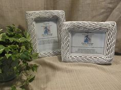 Two, White Wicker, Picture Frames, Phote Frames, Two Cottage Chic, Beach Cottage, Each Hold a 5'' x 7''  Photos or Pictures by ClassicMontage on Etsy