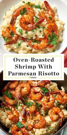 Parmesan Risotto with Roasted Shrimp A dinner party-worthy recipe for creamy Parmesan risotto that's topped with simply roasted shrimp. - Parmesan Risotto with Roasted Shrimp Recipe Parmesan Risotto, Shrimp Risotto, Risotto Dishes, Risotto Receita, Camarones Fritos, Roasted Shrimp, Fried Shrimp, Fried Rice, Seafood Recipes