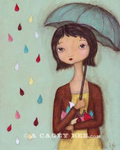 Art print Catching Raindrops - 8x10 print of original painting, umbrella spring wall art. $18.00, via Etsy.