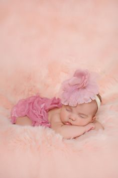 Pink Newborn Baby Girl portraits Claire's flower hair clip and scarf from claires used to look like a romper :) www.SimplyCaptivating.com