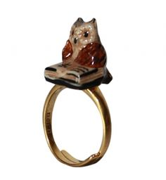 Adjustable Porcelain Owl with Book Ring by Nach Jewellery