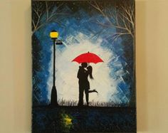Original Couple in rain painting Couple kissing in by ArtByRangrez