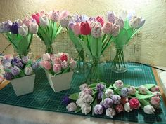 Fabric Tulips Handmade Flowers, Diy Flowers, Fabric Flowers, Wedding Flowers, Crochet Fabric, Applique Fabric, Fabric Crafts, Diy Crafts, Sewing Projects