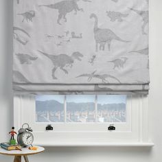 Beautiful boy's dinosaur curtain fabric is here! Children's dinosaur fabric in White & silver. Curtain fabric for boys & girls. Fabric Blinds, Curtains With Blinds, Curtain Fabric, Childrens Blinds, Boys Curtains, Boys Room Colors, Dinosaur Fabric, Dinosaur Prints, Wooden Window Blinds
