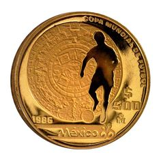 1986 Mexico 500 Peso 1/2 oz Proof Gold World Cup Coin