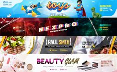 Creative/Outstanding banner for your youtube channel or facebook page will not only get you more exposure, but help you get more subscribers and display all the information that you want. Multiple niches like fitness, lifestyle, travel, business, beauty, gaming and many other you can be sure that I can help you with a professional design. Youtube Banner Design, Youtube Banners, Twitter Banner, Facebook Banner, Graphic Design Services, Freelance Graphic Design, Social Media Banner, Social Media Design, Epic Meal Time