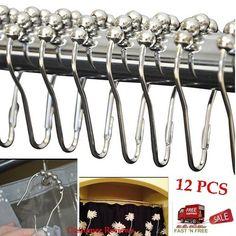 12 Polished Chrome Curtain Hook Rings Hanger Rod Roller  Shower Bathroom Window #AmazonBasics