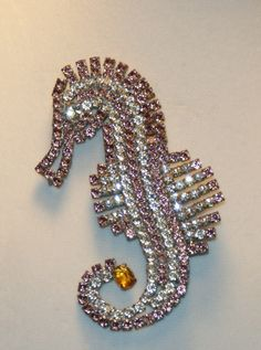 Vintage Fabulous HUGE Pink Seahorse Rhinestone Pin Brooch by Husar D Czech